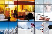 Bildcollage mit Winterbildern Markise auf Terrasse